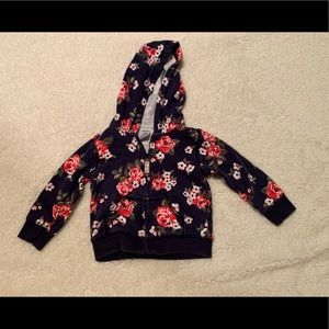 Carter's Navy and Floral Zip Hoodie 12 Months